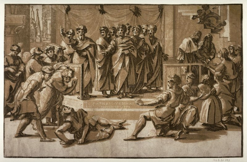 The Death of Ananias, after a drawing by Raphael for the tapestry for the Sistine Chapel, Vatican City