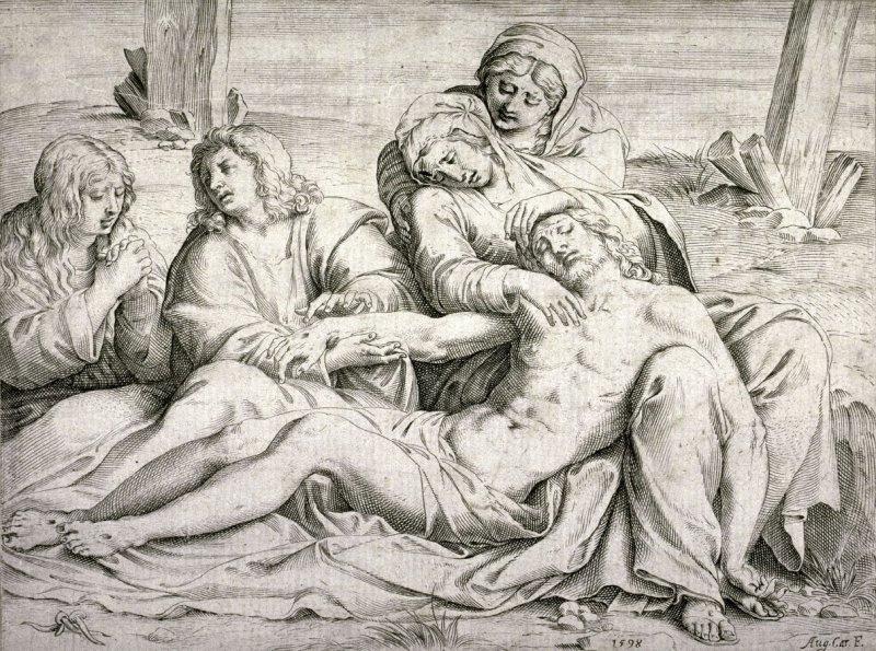 Pietà, after an etching by Annibale Carracci, Christ of Caprarola