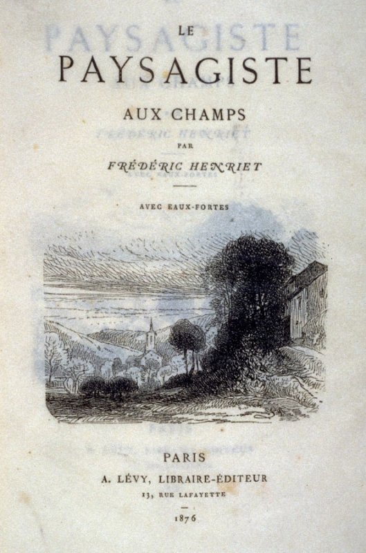 First title page in the book, Le Paysagiste aux champs (Paris: A. Lévy, 1876)