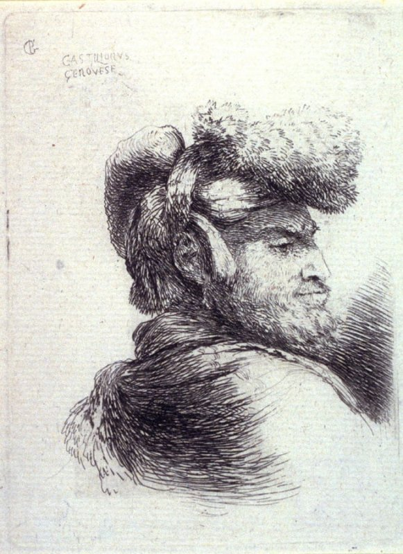 Bearded Man Wearing a Cap Ornamented with Fur, Facing Right, from the series, Small Studies of Heads in Oriental Headdress