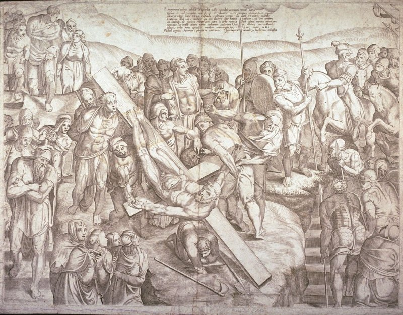 Martyrdom of St. Peter, after the fresco in the Capella Paolina, the Vatican, Rome