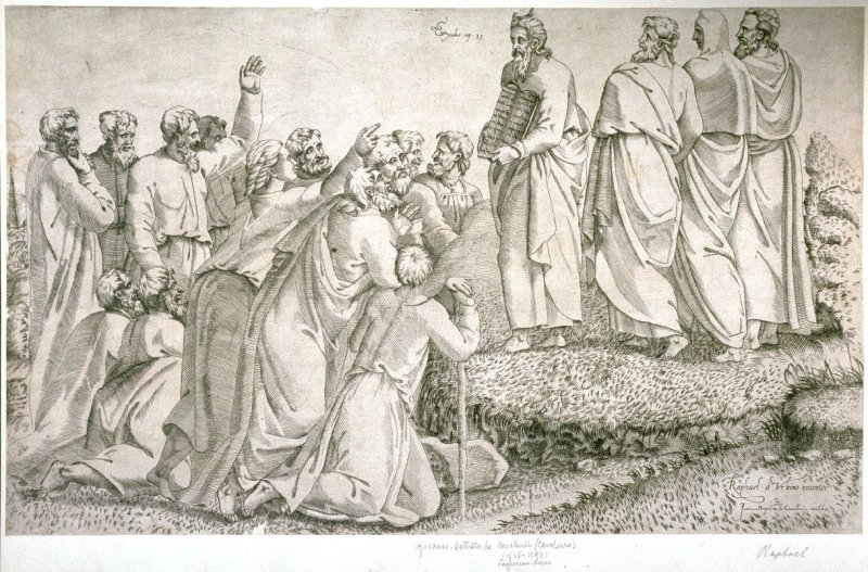 Moses presenting the tablets of the law to the people
