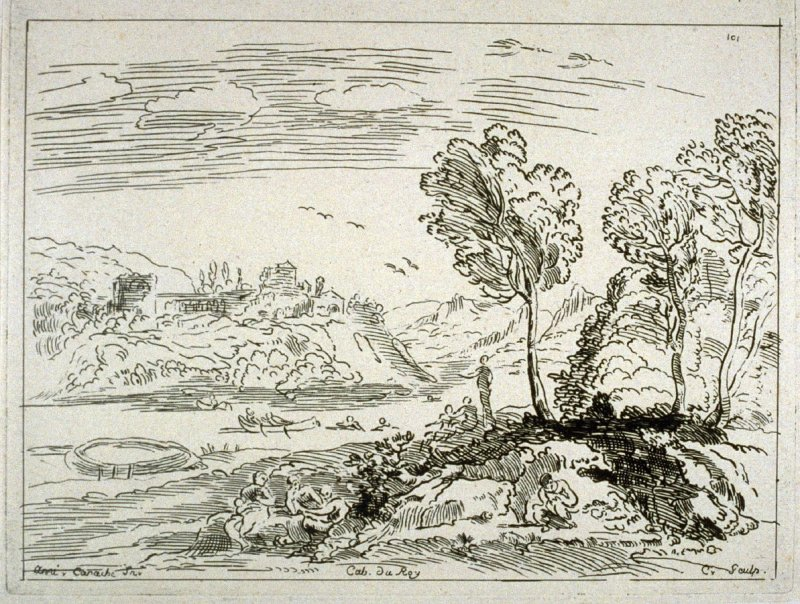 Landscape with a River and Seven Figures, from the Cabinet du Roi