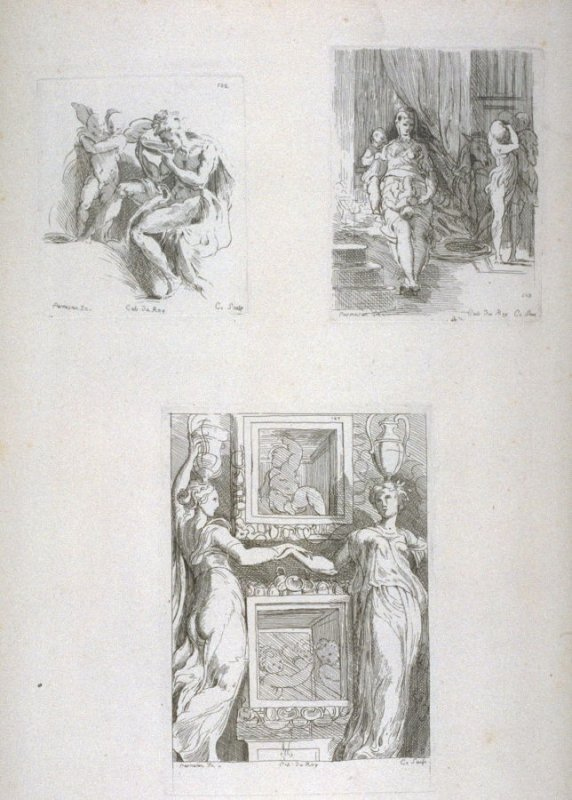 Cupid and Drinking Man; Seated Woman and Two Children; Two Draped Women with Vases on their Heads; from the Cabinet du Roi