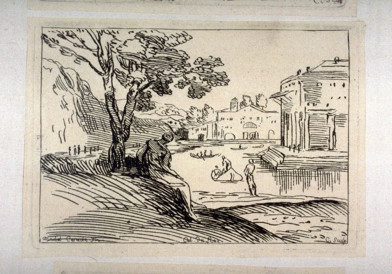 Landscape with a House by a River, and a Woman Seated beneath a Tree, from the Cabinet du Roi