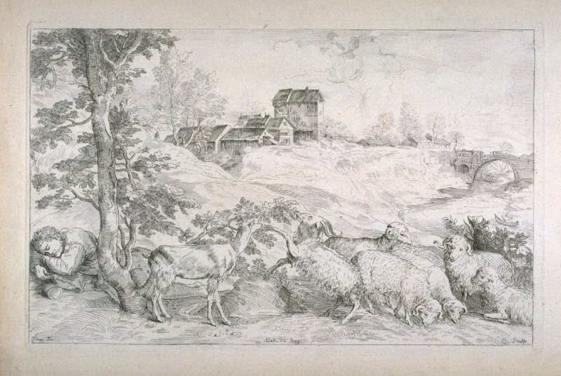 Landscape with a Sleeping Shepherd, from the Cabinet du Roi