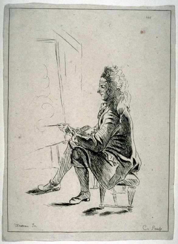 Artist seated on a stool
