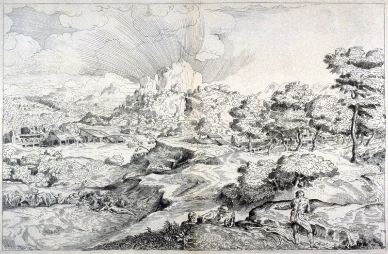 Large Landscape with a Shepherd and Nude Woman, from the Cabinet du Roi