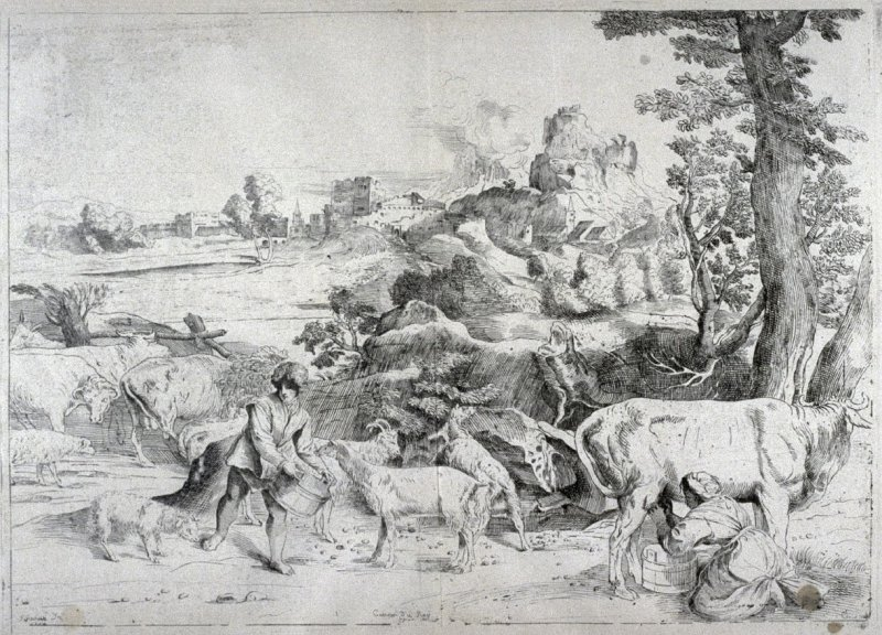 Landscape with a Woman Milking a Cow, from the Cabinet du Roi