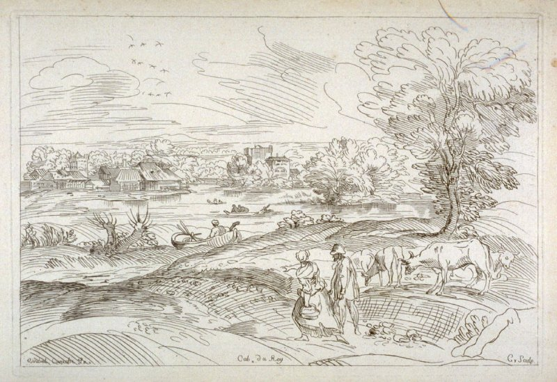 Landscape with a Couple of Villagers and Cows, from the Cabinet du Roi