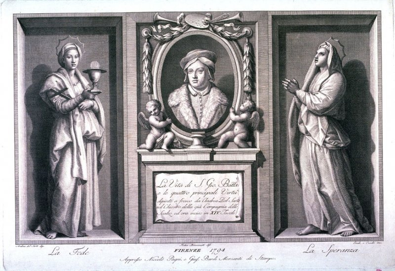 Title page for series of the Life of St. John the Baptist, after the frescoes in the cloister of the Compagnia dello Scalzo by Andrea del Sarto
