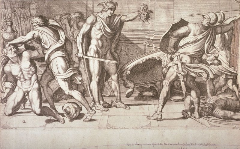 Perseus Turning His Enemies to Stone with the Head of Medusa, pl.12 from the series Galeria Nel Palazzo Farnese in Roma...da Annibale Carracci, after Annibale Carracci