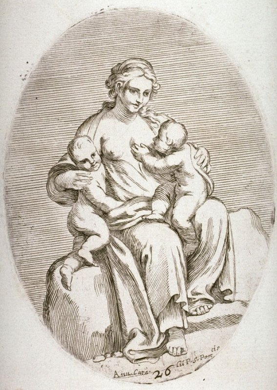 Charity, after Annibale Carracci from the Farnese Gallery Panels