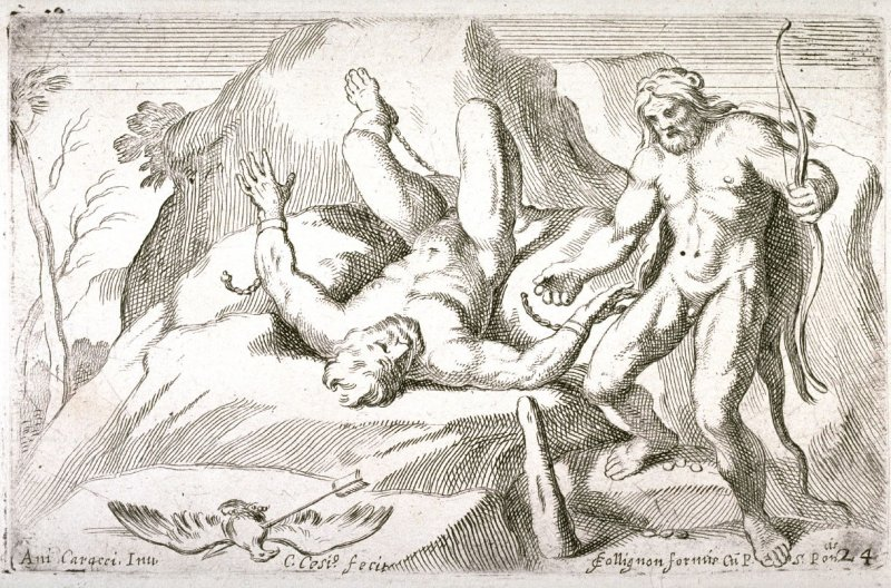 Hercules Liberating Prometheus, from the Farnese Gallery Panels after Annibale Carracci