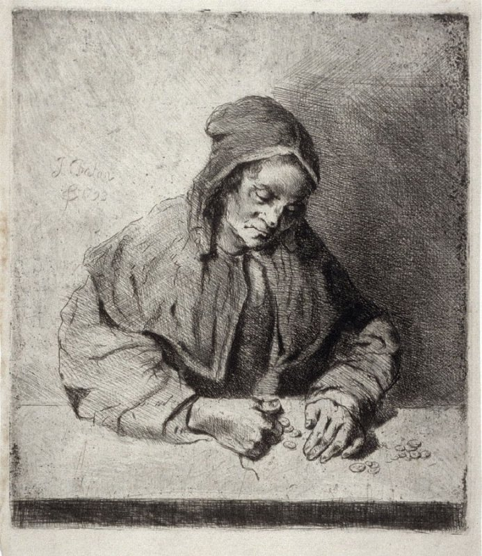 An Old Woman counts her money on a table