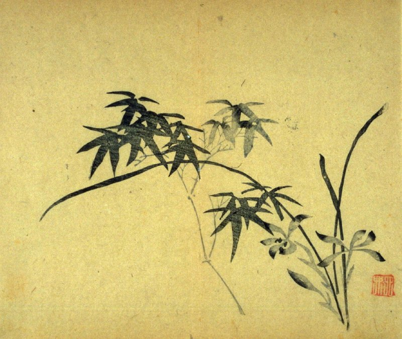 Bamboo, Orchid at right, No.1 from Volume I(1+2) on Miscellaneous Subjects - from: The Treatise on Calligraphy and Painting of the Ten Bamboo Studio