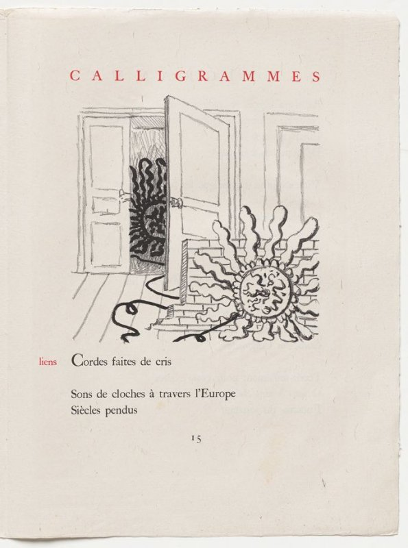 """""""liens,"""" pg. 15, in the book Calligrammes by Guillaume Apollinaire (Paris: Librairie Gallimard, 1930)"""