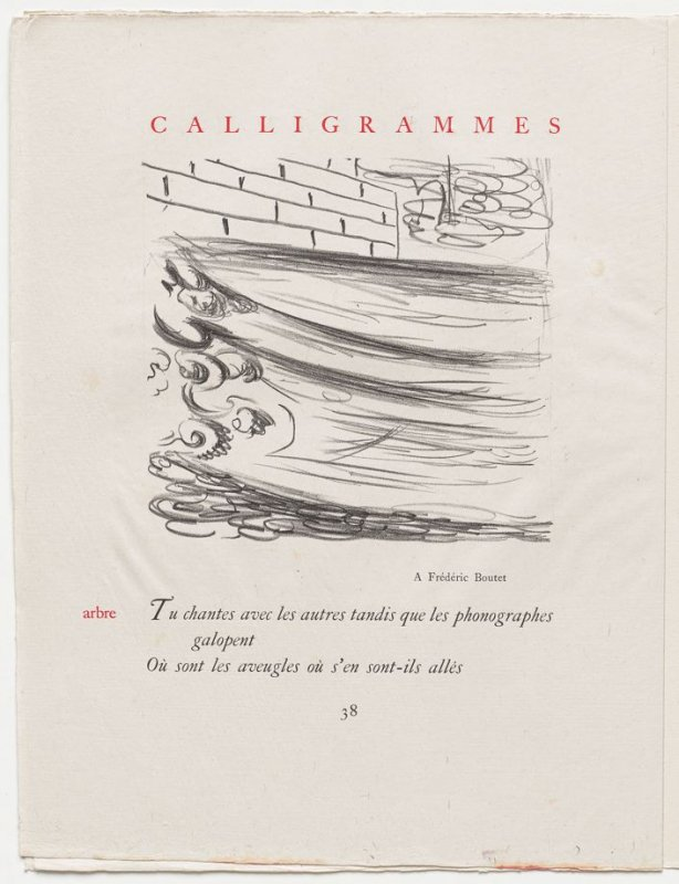 """""""arbre,"""" pg. 38, in the book Calligrammes by Guillaume Apollinaire (Paris: Librairie Gallimard, 1930)"""