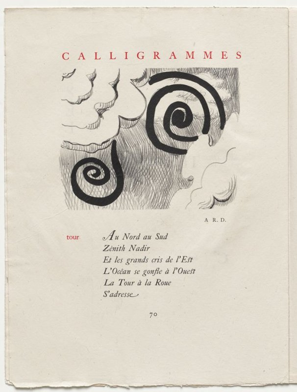"""tour,"" pg. 70, in the book Calligrammes by Guillaume Apollinaire (Paris: Librairie Gallimard, 1930)"