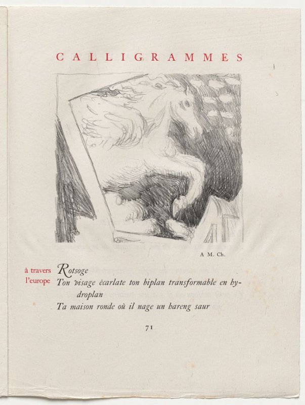 """à travers l'europe,"" pg. 71, in the book Calligrammes by Guillaume Apollinaire (Paris: Librairie Gallimard, 1930)"