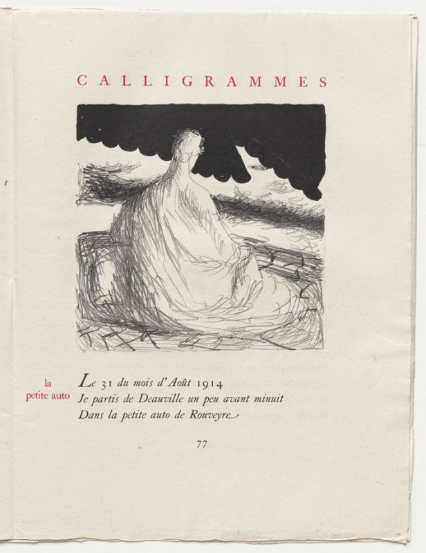 """""""la petite auto,"""" pg. 77, in the book Calligrammes by Guillaume Apollinaire (Paris: Librairie Gallimard, 1930)"""