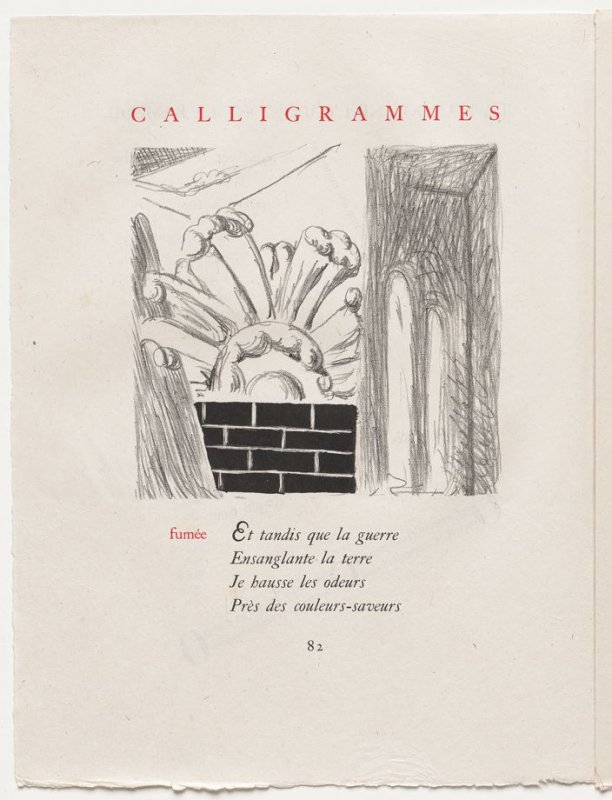 """fumée,"" pg. 82, in the book Calligrammes by Guillaume Apollinaire (Paris: Librairie Gallimard, 1930)"
