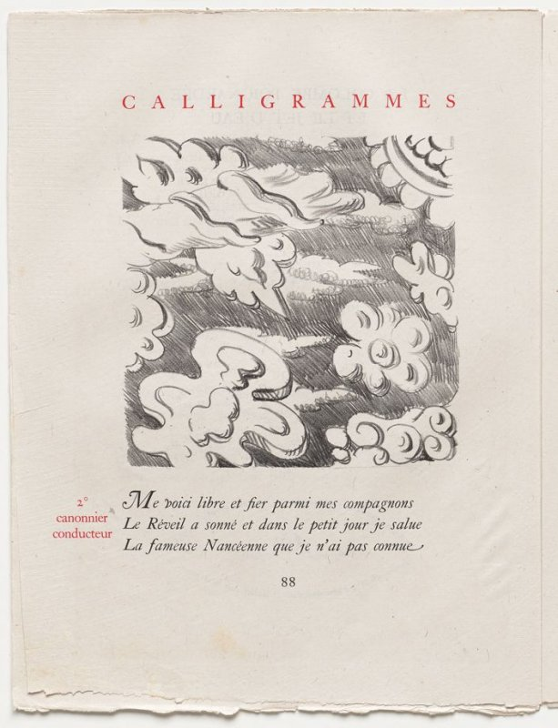 """""""2˚ canonnier conducteur,"""" pg. 88, in the book Calligrammes by Guillaume Apollinaire (Paris: Librairie Gallimard, 1930)"""