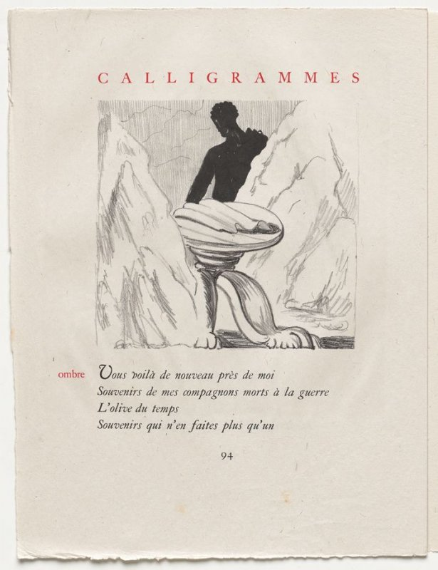 """""""ombre,"""" pg. 94, in the book Calligrammes by Guillaume Apollinaire (Paris: Librairie Gallimard, 1930)"""