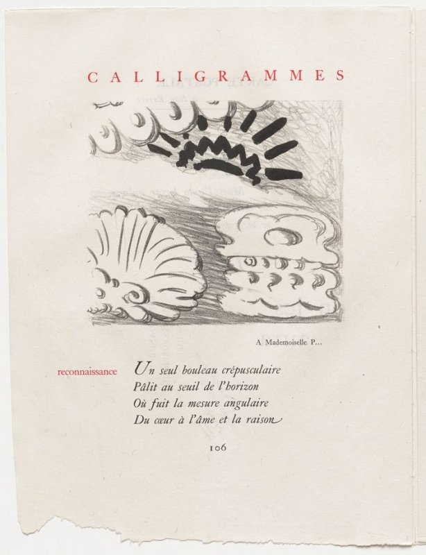 """""""reconnaissance,"""" pg. 106, in the book Calligrammes by Guillaume Apollinaire (Paris: Librairie Gallimard, 1930)"""
