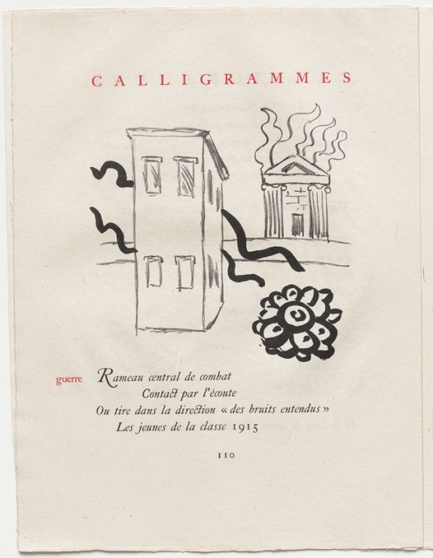"""""""guerre,"""" pg. 110, in the book Calligrammes by Guillaume Apollinaire (Paris: Librairie Gallimard, 1930)"""