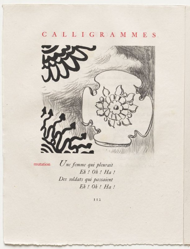 """""""mutation,"""" pg. 112, in the book Calligrammes by Guillaume Apollinaire (Paris: Librairie Gallimard, 1930)"""
