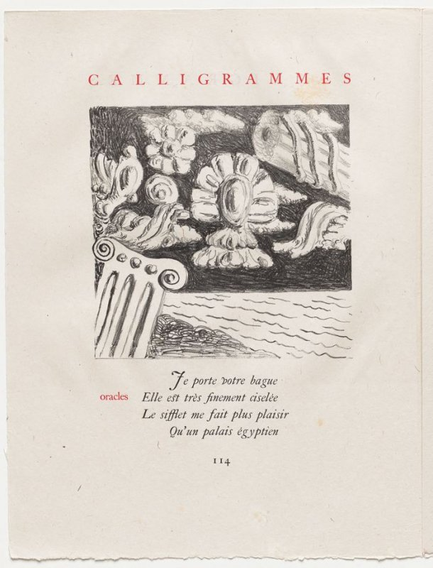 """""""oracles,"""" pg. 114, in the book Calligrammes by Guillaume Apollinaire (Paris: Librairie Gallimard, 1930)"""