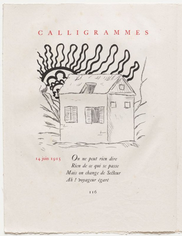 """14 juin 1915,"" pg. 116, in the book Calligrammes by Guillaume Apollinaire (Paris: Librairie Gallimard, 1930)"