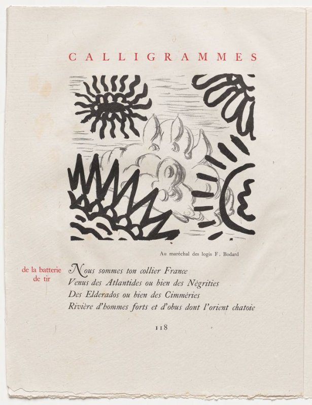 """de la batterie de tir,"" pg. 118, in the book Calligrammes by Guillaume Apollinaire (Paris: Librairie Gallimard, 1930)"