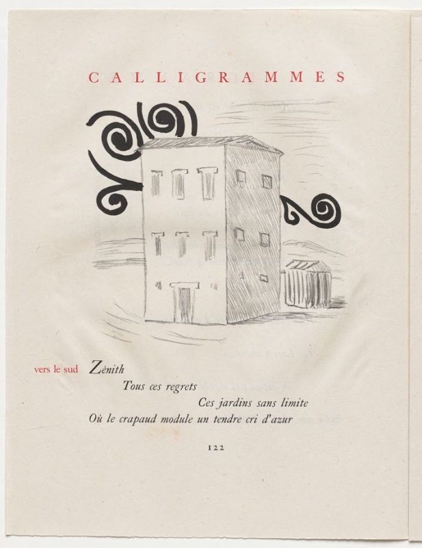 """""""vers le sud,"""" pg. 122, in the book Calligrammes by Guillaume Apollinaire (Paris: Librairie Gallimard, 1930)"""