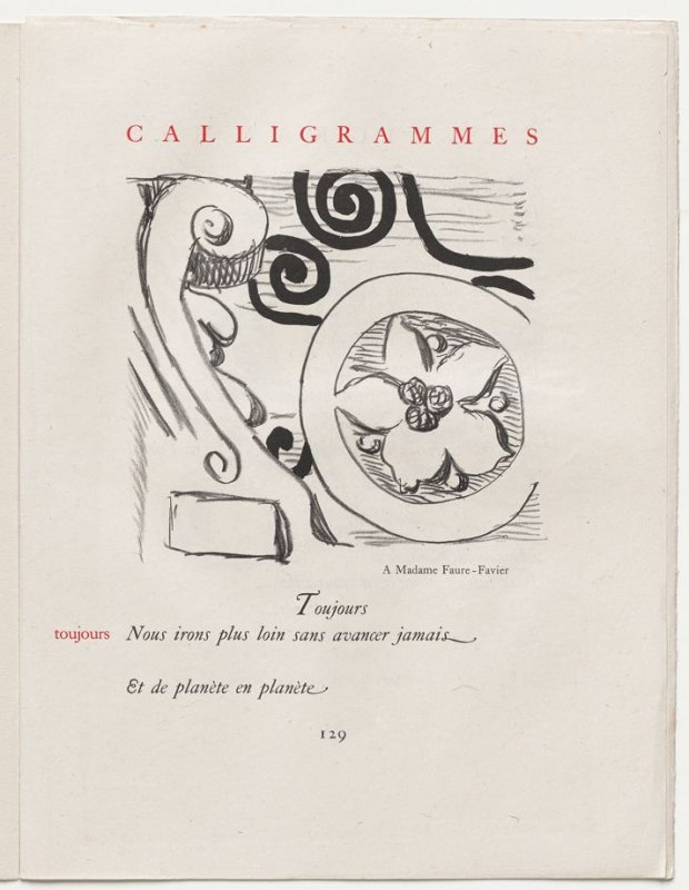 """""""toujours,"""" pg. 129, in the book Calligrammes by Guillaume Apollinaire (Paris: Librairie Gallimard, 1930)"""