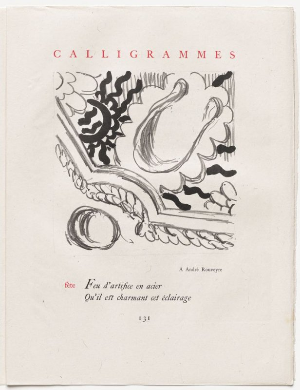"""""""fête,"""" pg. 131, in the book Calligrammes by Guillaume Apollinaire (Paris: Librairie Gallimard, 1930)"""