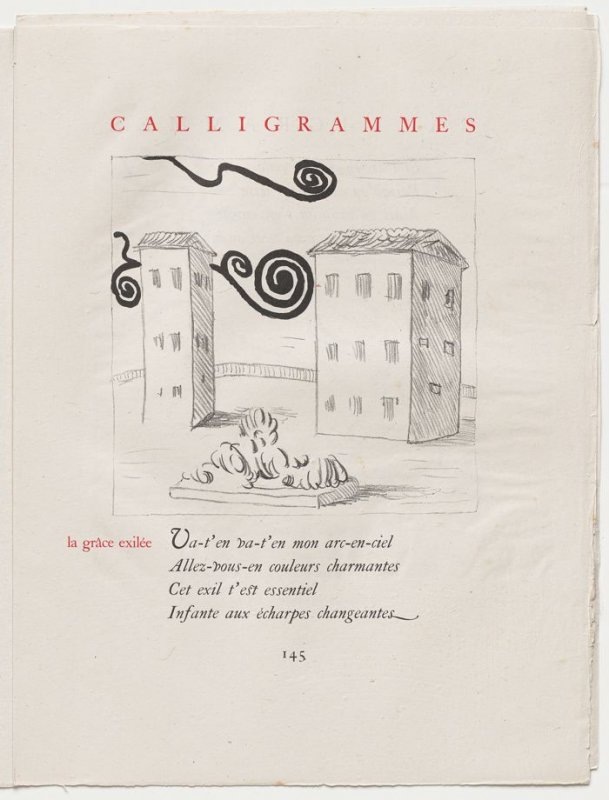"""la grâce exilée,"" pg. 145, in the book Calligrammes by Guillaume Apollinaire (Paris: Librairie Gallimard, 1930)"