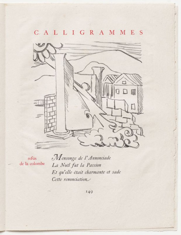 """""""refus de la colombe,"""" pg. 149, in the book Calligrammes by Guillaume Apollinaire (Paris: Librairie Gallimard, 1930)"""