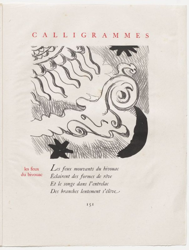 """les feux du bivouac,"" pg. 151, in the book Calligrammes by Guillaume Apollinaire (Paris: Librairie Gallimard, 1930)"