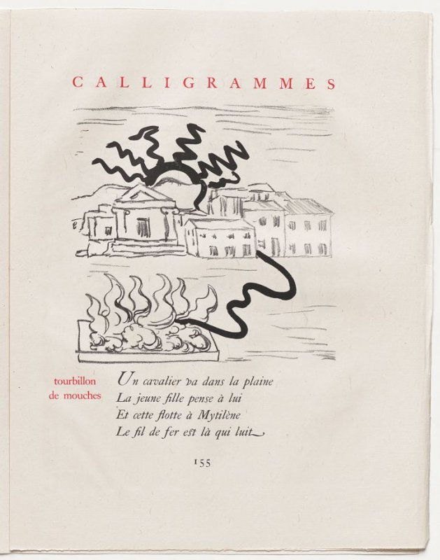 """tourbillon de mouches,"" pg. 155, in the book Calligrammes by Guillaume Apollinaire (Paris: Librairie Gallimard, 1930)"