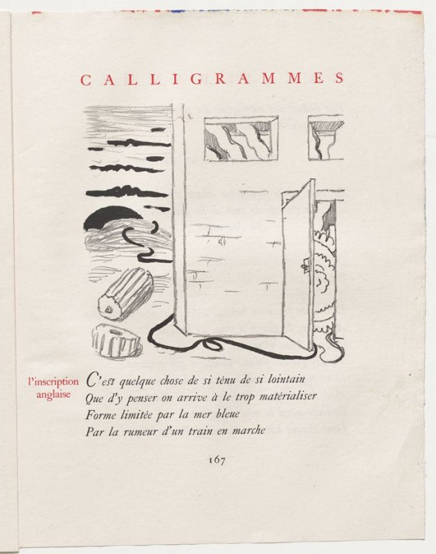 """""""l'inscription anglaise,"""" pg. 167, in the book Calligrammes by Guillaume Apollinaire (Paris: Librairie Gallimard, 1930)"""