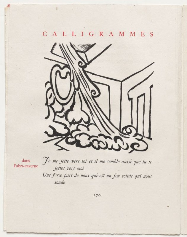"""""""dans l'abri-caverne,"""" pg. 170, in the book Calligrammes by Guillaume Apollinaire (Paris: Librairie Gallimard, 1930)"""