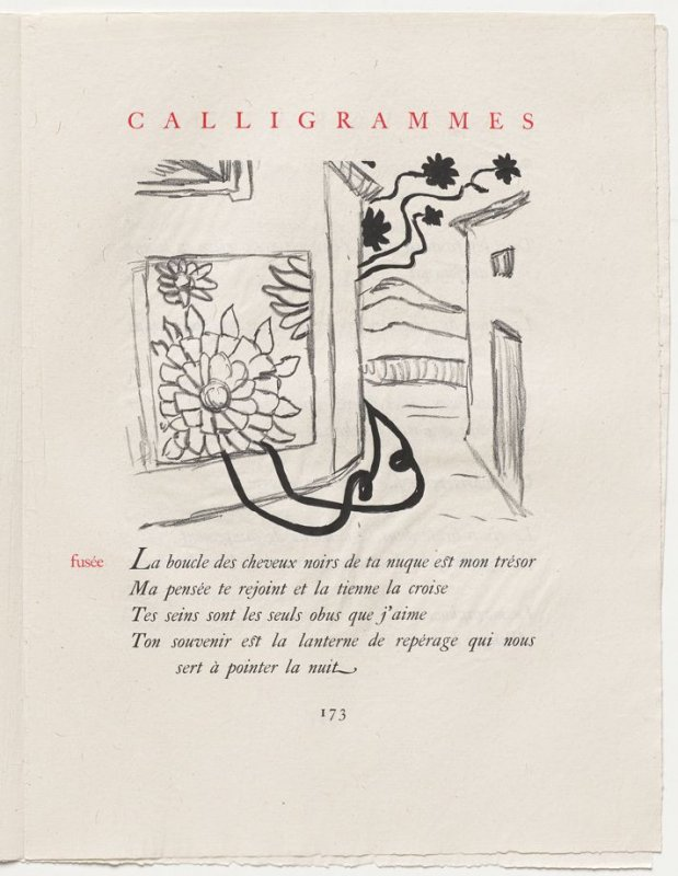 """fusée,"" pg. 173, in the book Calligrammes by Guillaume Apollinaire (Paris: Librairie Gallimard, 1930)"