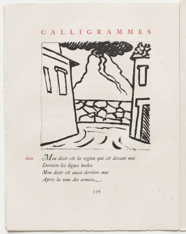"""""""désir,"""" pg. 176, in the book Calligrammes by Guillaume Apollinaire (Paris: Librairie Gallimard, 1930)"""