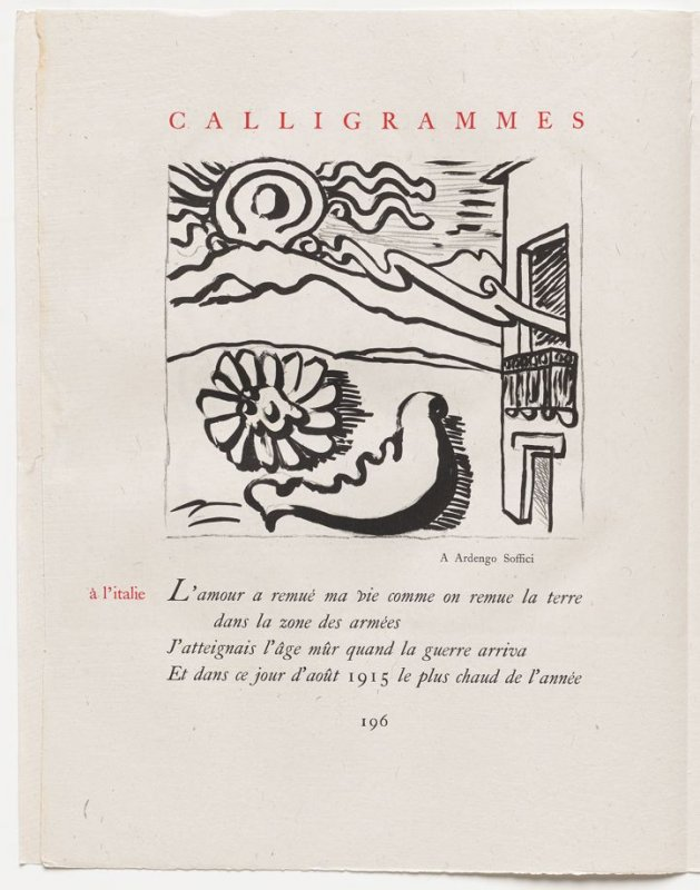 """""""à l'italie,"""" pg. 196, in the book Calligrammes by Guillaume Apollinaire (Paris: Librairie Gallimard, 1930)"""