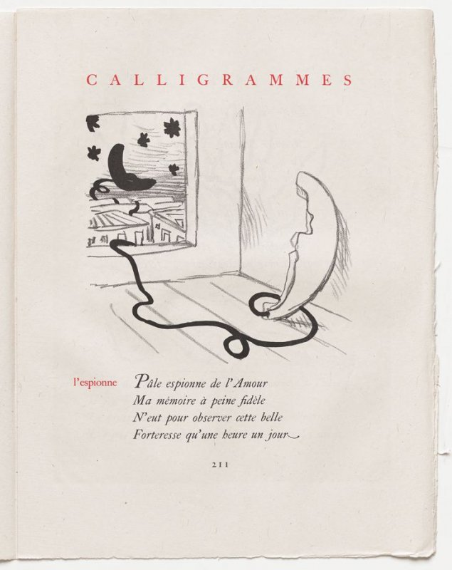 """l'espionne,"" pg. 211, in the book Calligrammes by Guillaume Apollinaire (Paris: Librairie Gallimard, 1930)"