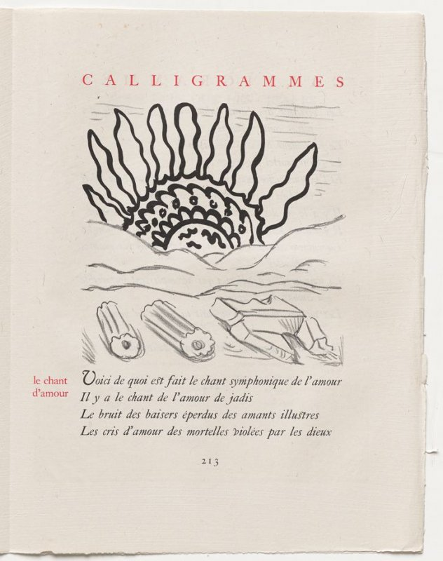 """le chant d'amour,"" pg. 213, in the book Calligrammes by Guillaume Apollinaire (Paris: Librairie Gallimard, 1930)"