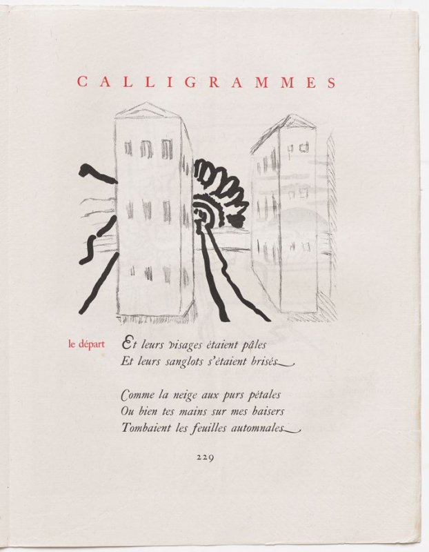 """""""le départ,"""" pg. 229, in the book Calligrammes by Guillaume Apollinaire (Paris: Librairie Gallimard, 1930)"""