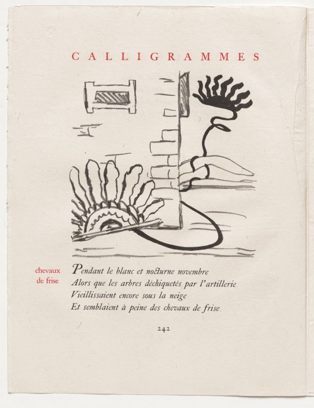 """""""chevaux de frise,"""" pg. 242, in the book Calligrammes by Guillaume Apollinaire (Paris: Librairie Gallimard, 1930)"""